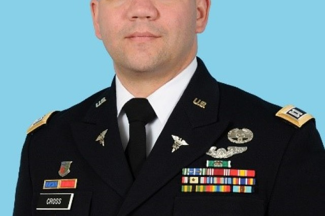 """Official photo for Capt. Jason """"Jay"""" Cross, chief of operations at the U.S. Army Medical Research Institute of Infectious Diseases, who started his Army career as an enlisted Soldier in 2003 and became an officer through the Green to Gold program."""