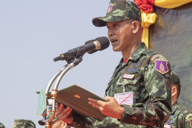 Colonel Chitsanupong Rodsiri, the Deputy Commanding General for 2nd Infantry Division King's Guard, Royal Thai Army, speaks to U.S. and Thai soldiers during the Hanuman Guardian opening ceremony, Jan. 28, 2019, at Camp Nimman Kolayut, Thailand. Hanuman Guardian 2019 was a training exercise with the Royal Thai Army designed to enhance military-to-military partnerships, interoperability and mission readiness. (U.S. Army photo by Staff Sgt. Samuel Northrup)