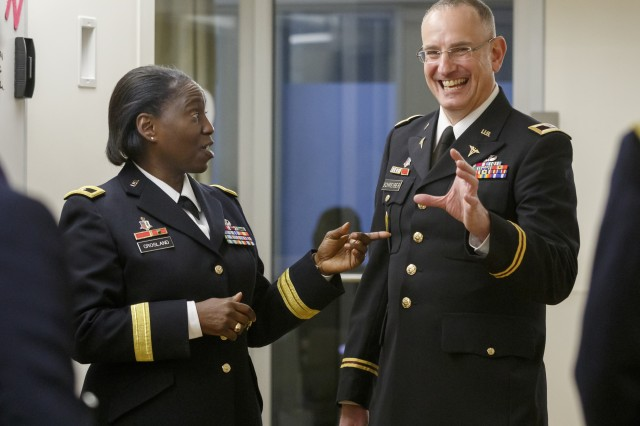 Army Brig. Gen. Telita Crosland, commanding general, Regional Health Command-Atlantic (left) takes a tour of the OHSU ICU department with Martin Schreiber, M.D., chief of OHSU Healthcare's Trauma, Critical Care & Acute Care Surgery Division and also a colonel in the U.S. Army Reserve, Jan. 22, 2019.