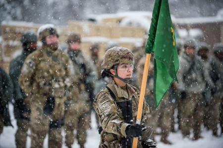 A U.S. Army Reserve Soldier with the 200th Military Police Command's Headquarters Company, stands in front of the formation bearing the unit guidon during a field training exercise at Fort Meade, Md., Jan. 13, 2019.