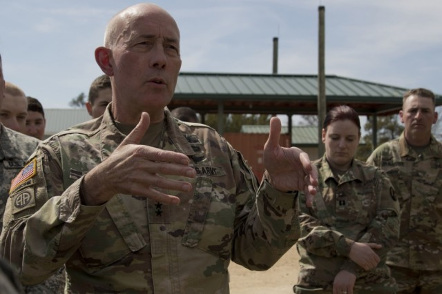 LTG Charles D. Luckey, U.S. Army Reserve Commanding General and Chief, Army Reserve, addresses concerns about the requirements for Ready Force X units during a training event at Operation Cold Steel II at Fort McCoy, Wis., April 22, 2018.