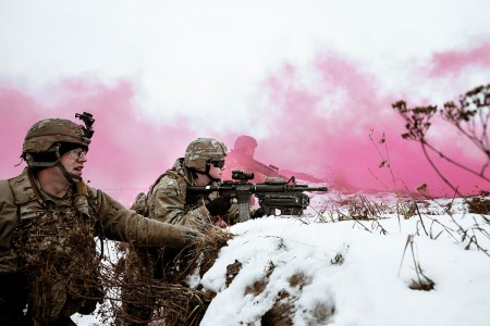 Soldiers execute winter live-fire training at Bemowo Piskie training area, Poland, Jan. 16, 2019. The exercise is intended to strengthen relationships among the allied nations and enhance the collective skills and combat readiness. Battle Group Poland is a unique, multinational coalition of  U.S., U.K., Croatian and Romanian Soldiers who serve with the Polish Armed Forces 15th Mechanized Brigade as a deterrence in support of NATO's Enhanced Forward Presence.
