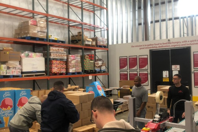 MIDLAND, Ga. (Jan. 30, 2019) -- Soldiers of Charlie Company, 1st Battalion, 46th Infantry Regiment, volunteered at Feeding the Valley food bank in Midland, Georgia, Jan. 25. As part of their work, the Soldiers packed boxes of non-perishable food for the food bank, who distribute these boxes of food to Families in need in Georgia and Alabama. During the two hours they were there, 12 Soldiers and one Family member packed 337 boxes. Personnel at the food bank estimate the 337 boxes would provide 6,400 individual meals for families in need. (U.S. Army photo by Capt. Alexander Kim, U.S. Army Armor School)