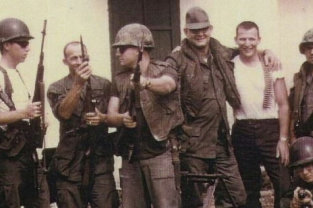 Detachment 5, American Forces Vietnam Network in Hue is shown in 1967 a few months before the Tet Offensive. Spc. 5 Harry Ettmueller is in the middle with sun glasses. To his right is station NCOIC, Sgt. 1st Class John Anderson, holding an M60.