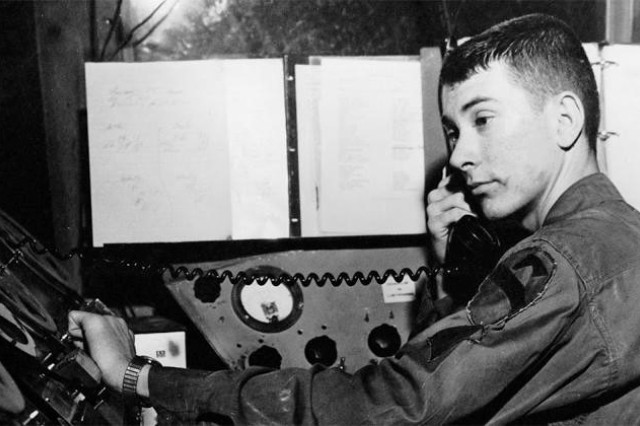 Spc. 4 John Bagwell broadcasts for the 1st Cavalry Division in Vietnam before he was transferred to AFVN Det. 5 in Hue during January 1968.
