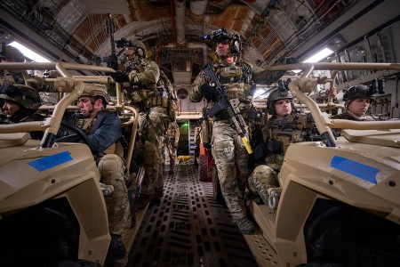 Special Forces Soldiers prepare to conduct a mock-nighttime assault on the Grenada Dam, Miss., Jan. 20, 2019. The exercise involved a simultaneous assault from multiple points, with the intent of gaining control over an insurgent-held dam. Southern Strike 2019 is a large-scale, joint multinational combat exercise that provides tactical level training for the full spectrum of conflict. It emphasizes air dominance, maritime operations, maritime air support, precision engagement, close air support, command and control, personnel recovery, aero medical evacuation, and combat medical support.