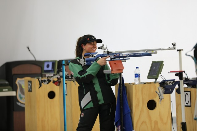 Aliya Butt, a Precision Rifle competitor from Taunton, Massachusetts competes in a Precision Final at the 2019 U.S. Army Junior Rifle National Championships. Butt would go on to finish 3rd overall in the Precision Rifle class and help her team the Taunton Marksmanship Unit (TMU) Ring Leader place 3rd overall in the Precision Team event held on U.S. Army Marksmanship Unit (USAMU) Pool International Range from Jan. 24-26.