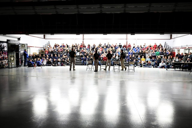 Soldiers from the U.S. Army Marksmanship Unit's International Rifle Team speak to more than 150 of the top junior marksmen from across the United States during a clinic that was part of the U.S. Army Junior Rifle National Championships at Fort Benning, Ga. Jan. 24-26, 2019. During the clinic, the Soldiers gave the junior competitors advice on fitness, mental resiliency and confidence. The invitation-only event then had the youth athletes compete side by side for top individual and team honors in three-position smallbore, sporter rifle and precision rifle.