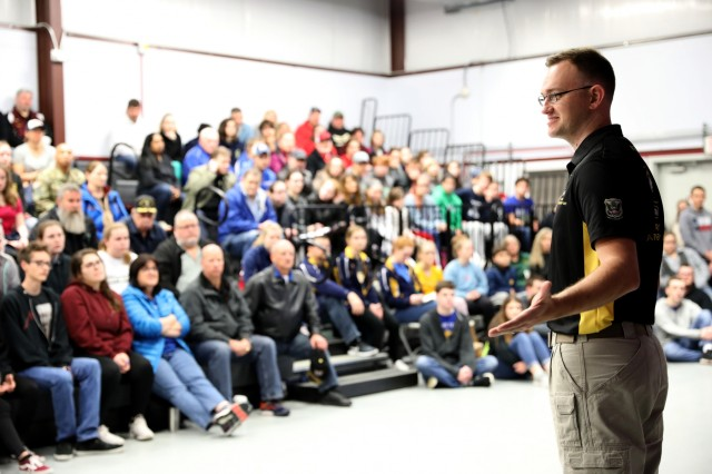 U.S. Army Sgt. 1st Class George Norton, a Salina, Kan. native who recently won an Olympic quota for the United States in 50m Three-Position Rifle, speaks to more than 150 of the top junior marksmen from across the United States during a clinic that was part of the U.S. Army Junior Rifle National Championships at Fort Benning, Ga. Jan. 24-26, 2019. The invitation-only event had the youth athletes compete side by side for top individual and team honors in three-position smallbore, sporter rifle and precision rifle.