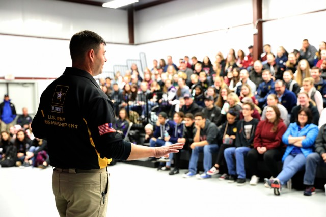 U.S. Army Sgt 1st Class Michael McPhail, a Darlington, Wis. native who competed in both the 2012 and 2016 Olympics, speaks to more than 150 of the top junior marksmen from across the United States during a clinic that was part of the U.S. Army Junior Rifle National Championships at Fort Benning, Ga. Jan. 24-26, 2019. The invitation-only event had the youth athletes compete side by side for top individual and team honors in three-position smallbore, sporter rifle and precision rifle.