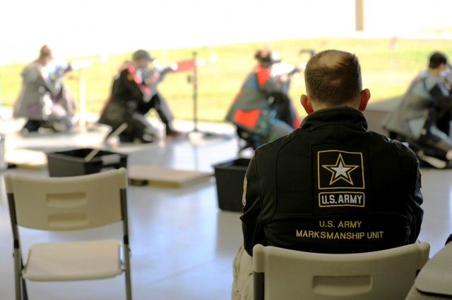 U.S. Army Sgt. 1st Class George Norton, a Salina, Kansas native, watches over competitors in the Smallbore Final during the U.S. Army Junior Rifle National Championships at Fort Benning, Ga. Jan. 24, 2019. The three-day, invitation-only event had the youth athletes compete side by side for top individual and team honors in three-position smallbore, sporter rifle and precision rifle.