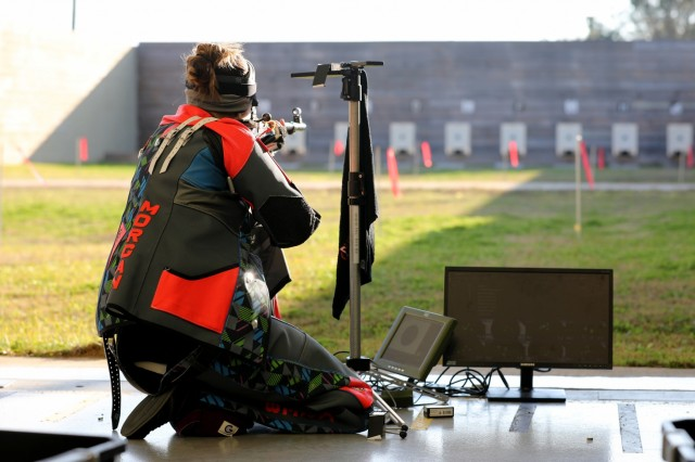 Junior athlete, Morgan Kreb from Colorado Springs, Colo., competes in the Smallbore Finals during the U.S. Army Junior Rifle National Championships at Fort Benning, Ga. Jan. 24, 2019. The invitation-only event had the youth athletes compete side by side for three days to win top individual and team honors in three-position smallbore, sporter rifle and precision rifle. At the end of the competition, Morgan was announced the 2019 U.S. Army Junior Smallbore Champion with a final score of 442.0.
