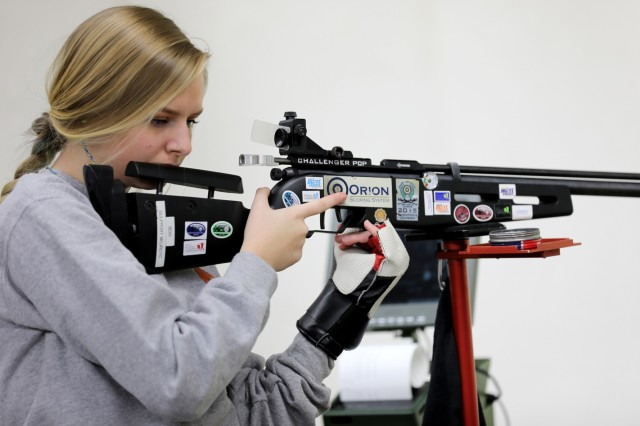 Mackayla Bourgeois, a junior sporter competitor at the U.S. Army Junior Rifle National Championships at Fort Benning, Ga., prepares for her next shot in the relay on Jan. 25, 2019. The three-day, invitation-only event had the youth athletes compete side by side for top individual and team honors in three-position smallbore, sporter rifle and precision rifle. Bourgeois made the Sporter Finals, which include the top eight scores from the relays, both days of the competition.