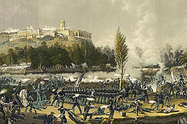 During the final assault on Sept. 12 of the Mexico-U.S. War, near Chapultepec Castle (pictured), battles go on in the foreground of the historic building.