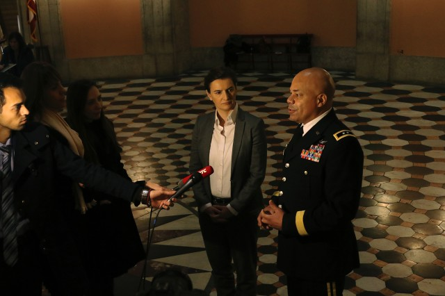 Maj. Gen. John C. Harris Jr. (from right), Ohio adjutant general, and Serbian Prime Minister Ana Brnabic are interviewed by Serbian media following a discussion with leaders from both the state of Ohio and the Republic of Serbia Jan. 28, 2019, at the Ohio Statehouse in Columbus, Ohio. Harris and Brnabic met with Ohio Gov. Mike Dewine and Lt. Gov. Jon Husted to discuss potential future civilian partnerships between Ohio and Serbia.