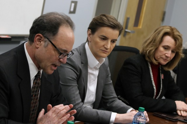 Serbian Prime Minister Ana Brnabic (center) meets with Dr. Gil Latz (left), vice provost for global strategies at The Ohio State University, and Dr. Cathann Kress, vice president and dean of the Ohio State College of Food, Agriculture and Environmental Science, Jan. 28, 2019, at the Parker Food Science and Technology Building in Columbus, Ohio. Serbian leaders and Ohio State officials hope to collaborate in the future in areas of food production research and technology.