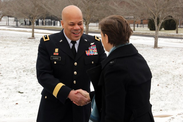 Maj. Gen. John C. Harris Jr., Ohio adjutant general, greets Serbian Prime Minister Ana Brnabic Jan. 28, 2019, at the Ohio National Guard Joint Force Headquarters located at the Maj. Gen. Robert S. Beightler Armory in Columbus, Ohio. Brnabi� led a Serbian delegation to Ohio to explore potential future agricultural and business exchanges, as well as meet with state government officials.