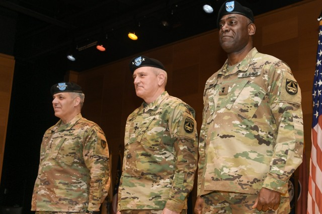 (Left to right) Commanding General Army Materiel Command Gen. Gustave F. Perna, Commanding General Army Futures Command Gen. John M. Murray and Commanding General Combat Capabilities Development Command Maj. Gen. Cedric T. Wins during a Transition of Authority ceremony Jan. 31 at Aberdeen Proving Ground, Md.