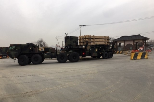 A Patriot missile launcher enters Osan Air Base, South Korea, during Bravo Battery, 2-1 Air Defense Artillery Battalion's field training exercise conducted November 27 to December 7, 2018. (Courtesy photo)