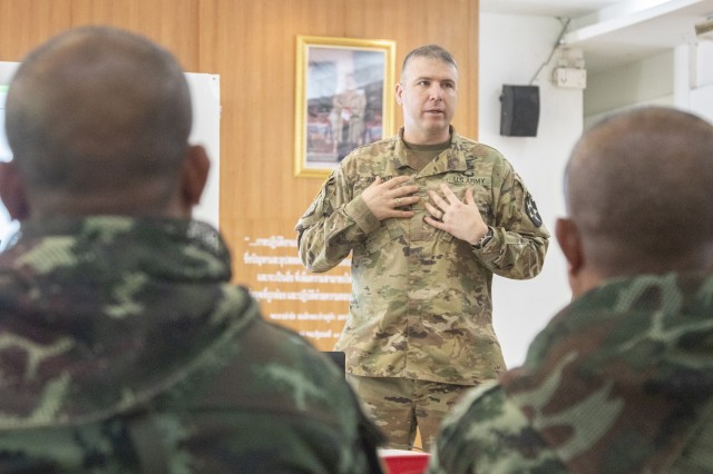 Major Craig Arnold, the executive officer for 5th Battalion, 20th Infantry Regiment, briefs Royal Thai Army soldiers Jan. 29, 2019, at Camp Nimman Kolayut, Thailand, on the capabilities and organizational structure of a U.S. brigade combat team. Exercise Hanuman Guardian builds readiness, interoperability and collaboration among partner nations in order to achieve effective solutions to common challenges.