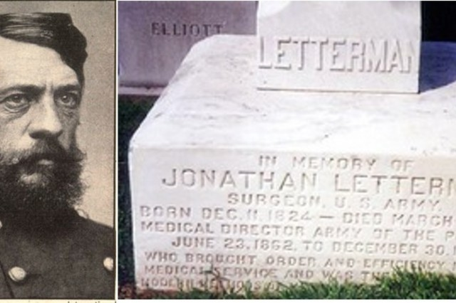 Maj. Jonathan Letterman is one of the great figures in the history of Army Medicine. In 1862, Maj. Gen. George McClellan appointed Letterman as his Medical Director. The Army of the Potomac at that time had more than 100,000 men with nearly 30 percent not able to fight because of illness or injury.  Letterman's rapidly developed an understanding of the problems and instituted a number of changes to improve care of wounded and health of Union troops.  Letterman was far ahead of his time in understanding and promoting health and medical readiness.  Many of the fundamental tenants of Army Medicine today can be traced to Letterman.  He is buried in Arlington National Cemetery.  (U.S. Army courtesy photo)