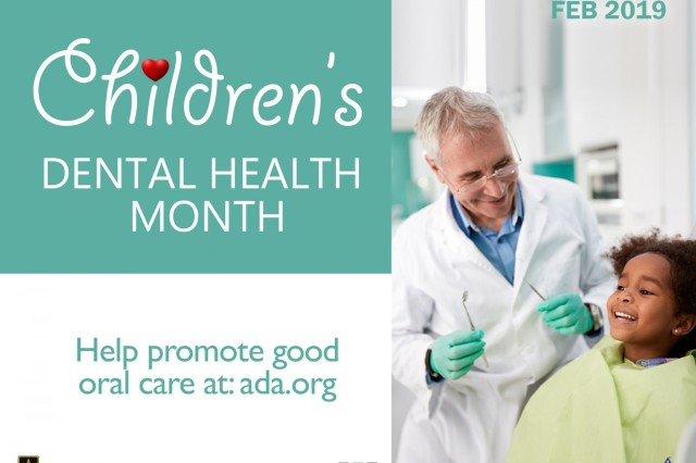 "February is National Children's Dental Health Month and this year's theme is ""Brush and clean in between to build a healthy smile."" Children should brush for at least two minutes, twice a day to reduce the bacteria that can cause tooth decay. Parents should begin brushing their child's teeth as soon as they are visible in the mouth. (U.S. Army Image by Rebecca Westfall, MEDCOM/OTSG)"