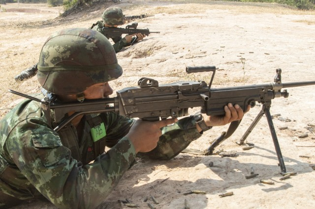 A Royal Thai Army soldier prepares to engage an enemy target during squad training Jan. 29, 2019, at Klong Kluea, Thailand. This was part of Hanuman Guardian, an exercise designed to build readiness through tough, realistic training with the U.S. and Royal Thai Army. Soldiers from both nations trained together and shared tactics for better understanding and interoperability between the two armies.