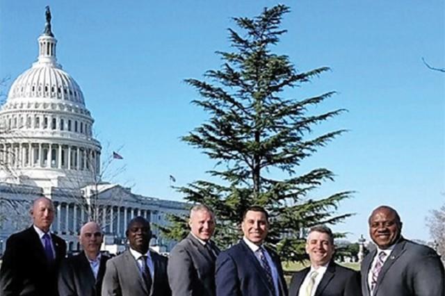 NCOs in ACFP. Sergeants major from left to right: Travis Votaw, 2016; Derek Gondek, 2017; Carlos Magwood, 2017; Robert Hawkins, 2015; Jerry Arteaga, 2018; Kevin Miller, 2018; and DeWayne Blackman, 2016.