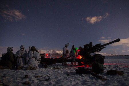Army paratroopers with set up a M119 105 mm howitzer at Malemute Drop Zone while conducting an airborne forced entry operation at Joint Base Elmendorf-Richardson, Alaska, Jan. 16, 2019.The Soldiers of 4th Infantry Brigade Combat Team (Airborne), 25th Infantry Division, belong to the only American airborne brigade in the Pacific and are trained to execute airborne maneuvers in extreme cold weather and high altitude environments in support of combat, partnership and disaster relief operations.