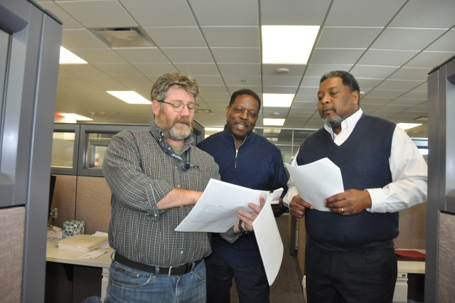 From left, Army Materiel Command Logistics (G-4) employees William Cooper, Tyrone Copeland and Gary Howard focus their work every day on the Command Supply Discipline and Property Accountability program. They are among AMC G-4 employees committed to the Shape the Fight and Ready Army Civilian initiatives.