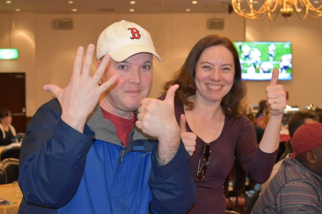 Chief Warrant Officer 3 Ray Smith, left, assigned to the U.S. Army Aviation Battalion Japan, and a native of Boston, celebrates the New England Patriots' sixth Super Bowl win Feb. 4 with his spouse Katherin Smith at the Camp Zama Community Club.