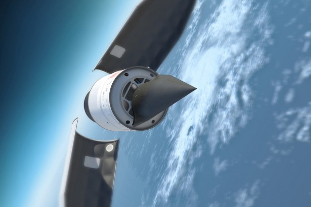 This illustration depicts the Defense Advanced Research Products Agency's (DARPA) Falcon Hypersonic Test Vehicle as it emerges from its rocket nose cone and prepares to re-enter the Earth's atmosphere. DARPA has conducted two test flights of the vehicle; in the second, in 2011, the HTV reached a speed of Mach 20 before losing control. (Image courtesy of DARPA)