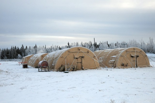 Prototype Air-Beam Supported Temper shelters were tested at Fort Greely, Alaska during operational testing Dec. 2014-March, 2015. The shelters support the Army's Network/C3I and Soldier Lethality modernization priorities by suppressing EMI signatures and protecting Soldiers from extreme weather.