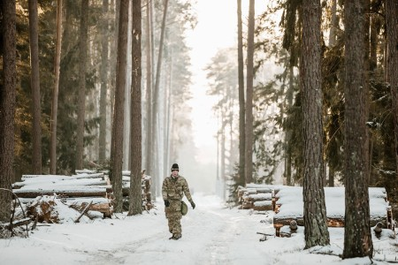 """Multinational soldiers with Battle Group Poland participated in the unit's first multinational Spur Ride of the year, Jan. 16, 2019, in Poland. Spur candidates from the United Kingdom, Romania, Croatia, Poland and U.S. completed multiple Soldier tasks while cold, tired, and hungry to earn their silver-spurs in a cavalry unit rite of passage called a Spur Ride. The tradition of having to """"earn your spurs"""" reaches back to the beginning of the American Cavalry."""
