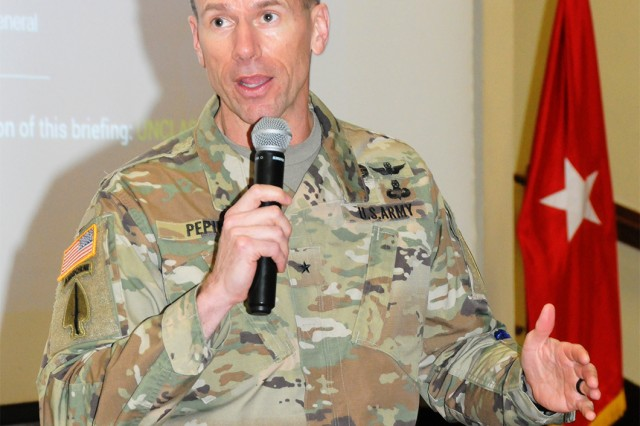 Brig. Gen. Allan M. Pepin, U.S. Army Special Operations Aviation Command commanding general, speaks Jan. 31 at The Landing immediately after the 1st Battalion, 145th Aviation Regiment Student Aircraft Selection and during the Army Aviation Association of America meeting that followed.