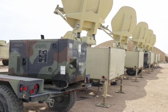 U.S. Army equipment used during the 98th Expeditionary Signal Battalion validation exercise at Camp Buehring, Kuwait, January 30, 2019.  Pictured from left to right are 10K generator and Satellite Transportable Terminals. The validation exercise ensures the 98th Expeditionary Signal Battalion is prepared to support Operations Inherent Resolve and Spartan Shield. (U.S. Army photo by Capt. Brandon Fambro)
