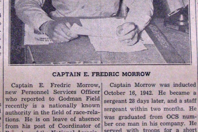 Then Capt. E. Frederic Morrow poses for a Godman Field Beacon photo shortly after he arrives at Fort Knox to take over as the new Base Personnel Services officer in 1945.