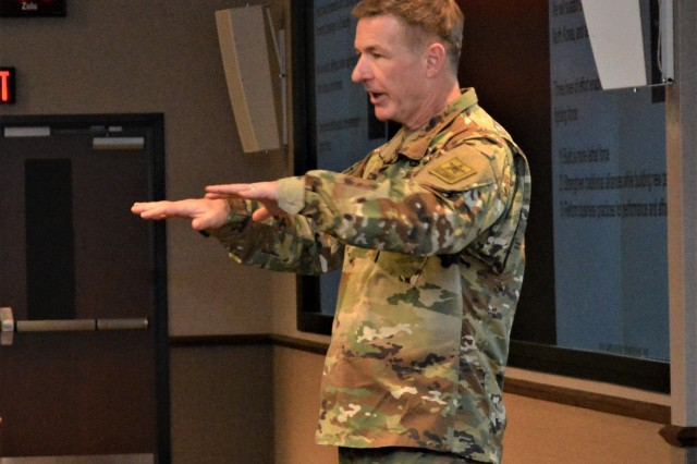 The Army's senior Aviator, Gen. James C. McConville, Vice Chief of Staff of the Army, speaks to Army Aviation leaders about readiness and modernization during the Aviation Senior Leader Forum at Fort Rucker Jan. 29.