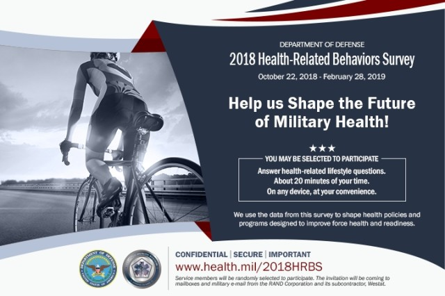 Individuals across both active duty and reserve components were randomly selected to complete the 2018 Health-Related Behaviors Survey. Information and data from the results help shape health policies and programs to improve force health and readiness.