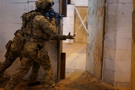Rangers from 2nd Battalion, 75th Ranger Regiment, conducted close quarters combat skills training at Joint Base Lewis-McChord, Wash.