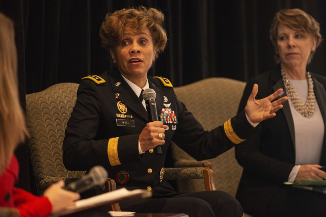 Lt. Gen. Nadja West, Army surgeon general and commander of Army Medical Command, discusses the Army's efforts to retain Soldiers during a panel discussion in Washington, D.C., Feb. 6, 2019