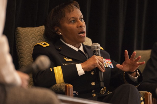 Lt. Gen. Gwen Bingham, the Army's assistant chief of staff for installation management, discusses concerns of Soldiers and their families during a panel discussion in Washington, D.C., Feb. 6, 2019.