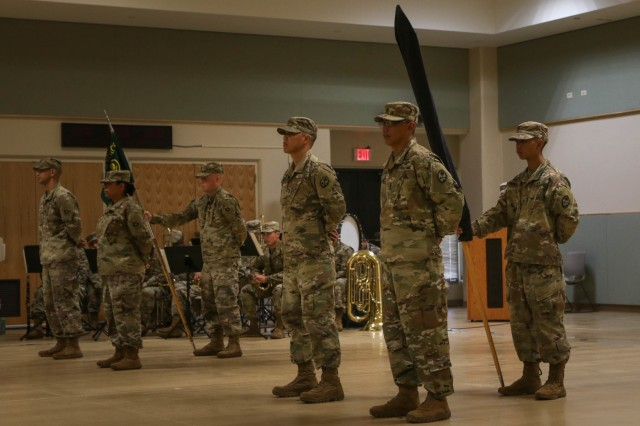 Soldiers of Task Force Wolf, 17th Combat Sustainment Support Battalion and Task Force Guahan, 1st Battalion, 294th Infantry Regiment, Guam Army National Guard, stand in formation during a Transfer of Authority ceremony in Guam, Feb. 4, 2019. (U.S. Army photo by Sgt. Cohens)