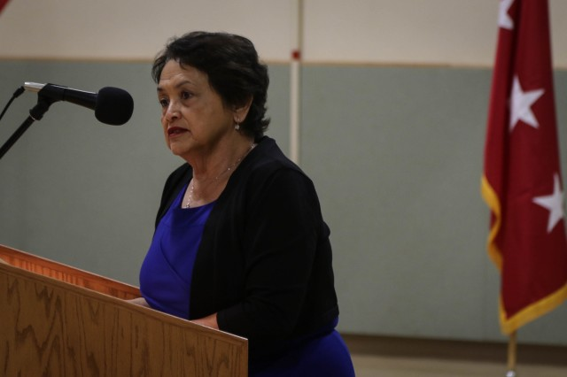 Governor of Guam Lou Leon Guerrero delivers her remarks during a Transfer of Authority ceremony in Guam, Feb. 4, 2019. Soldiers of the 1st Battalion, 294th Infantry Regiment, Guam Army National Guard, will provide Security Forces operations to Task Force Talon. Task Force Talon is the first permanently forward-stationed THAAD battery providing Tactical Ballistic Missile defense for the U.S. territory of Guam. (U.S. Army photo by Capt. Adan Cazarez)