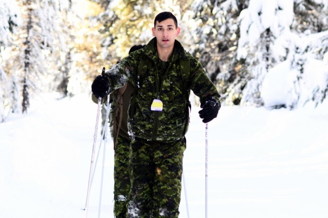 Canadian Army Reserve Cpl. Franklin Pengelly, with Alpha Company, Royal Westminster Regiment, 39th Canadian Brigade Group, learns to cross-country ski during Westie Avalanche Exercise, Jan. 26, 2019, at E.C. Manning Park, British Columbia, Canada.