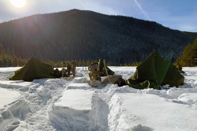Canadian Army Reserve Soldiers with the Royal Westminster Regiment, 39th Canadian Brigade Group, and Oregon Army National Guard Soldiers with 2nd Battalion, 162nd Infantry Regiment, 41st Infantry Brigade Combat Team, camp in the snow during Westie Avalanche Exercise, Jan. 26, 2019, at E.C. Manning Park, British Columbia, Canada.