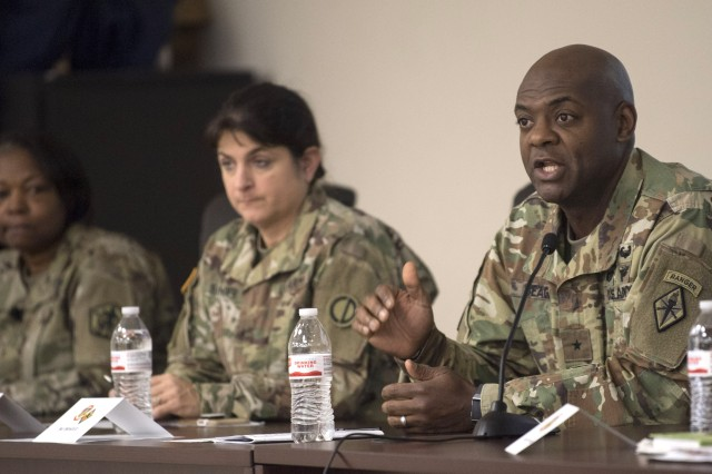 """Fort Jackson commanding general Brig. Gen. Milford H. """"Beags"""" Beagle, Jr. and a panel of  additional general officers answer the questions of cadets during a Q&A panel during the Army ROTC Leader Professional Development symposium hosted by Cadet Command and held on Fort Jackson. Pictured with him is Brig. Gen. Twanda Young and Brig. Gen. Kris Belanger."""