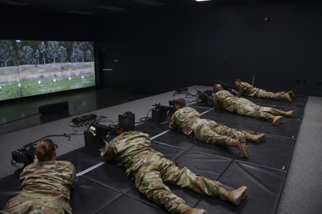 Soldiers with the Louisiana National Guard practice marksmanship skills while attending a training course for the Engagement Skills Trainer II at Camp Beauregard in Pineville, La., Jan. 10, 2019. The EST II is a virtual simulation trainer that is designed to assist and improve a Soldier's basic fundamentals of marksmanship, as well as collective and escalation of force training before going to a live-fire range.