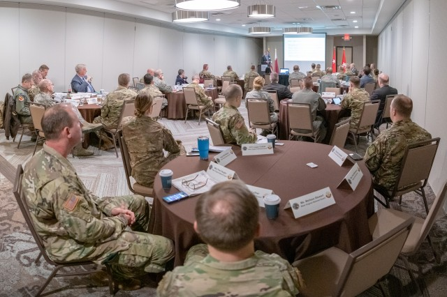Leadership and State Partnership Program (SPP) representatives from the West Virginia National Guard, along with representatives and program experts from the National Guard Bureau, U.S. Central Command, Army Central Command, and the State of Qatar, participate in a Leader Development & Education for Sustained Peace (LDESP) Seminar on Qatar Feb. 5, 2019, in Charleston, W.Va. LDESP is a Department of Defense (DoD) organization at the Naval Postgraduate School (NPS) in Monterey, California, that prepares senior military and civilian U.S. leaders for short and long-term engagement in Africa, the Pacific, the Middle East, Europe and other regions around the world.