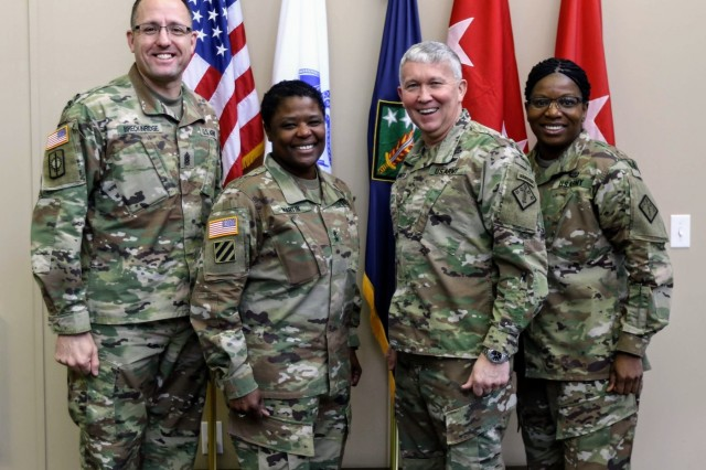 Brig. Gen. James Bonner (2nd from right), commanding general, and Command Sgt. Maj. Henney Hodgkins (right), senior enlisted advisor, 20th Chemical, Biological, Radiological, Nuclear, Explosives (CBRNE) Command hosted Maj. Gen. Donna Martin (2nd from left), Maneuver Support Center of Excellence and Fort Leonard Wood commanding general, and Command Sgt. Maj. James Breckinridge, MSCoE's senior enlisted advisor, at the command's current headquarters on Aberdeen Proving Ground on Jan. 23, 2019. The visit allowed Martin and Breckinridge to tour the new 20th CBRNE Command headquarters building, which is scheduled to be completed before the 20th CBRNE Command's 15th anniversary on Oct. 16, and receive a brief to better understand the full capability of the command.
